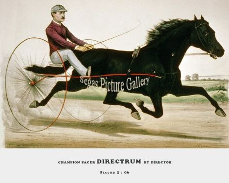 Fine art Horseracing Print of the 1800's Racing and Trotting of Trotting Stallion Directrum